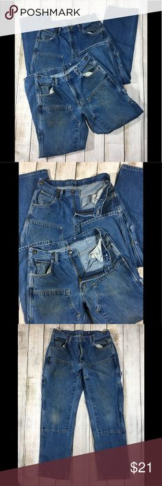 """Set of 2 Carpenter Work Denim Logger Jeans 34 x 32 Men's  KEY Jeans  Size 34 x 32 ACTUAL SIZE approx 33 X 31 -- Shows wear on pockets and knees, otherwise in Good used condition condition!                                                              100% Cotton, 14 oz. Denim Fabric Carpenter Work  Indigo Denim Logger Dungarees  Heavy Duty Measurements taken of both laying flat: Waist: 16-16.5"""" Rise: 12"""" Inseam: 30.5-31"""" Leg opening: 8.5"""" KEY Jeans"""