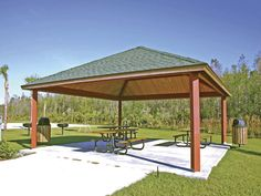 Steel Frame Square Hip Shelter Manufacturer | RCP Shelters Engineered Wood, Shelters, Steel Frame, Gazebo, New Homes, Outdoor Structures, House, Home, Deck Gazebo