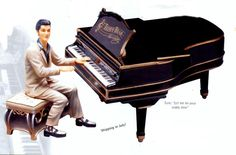 "Elvis w/Black Grand Piano Cookie Jar - Musical ""Teddy Bear"" song"