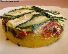 Polenta au pistou, tomates séchées et aux courgettes à véganiser