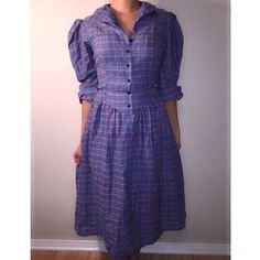 Vintage Flannel long sleeve midi dress w/ pockets Blue, red and green midi vintage flannel with pockets in the font. Vintage Dresses Midi