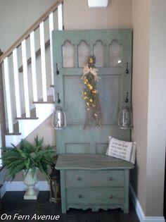 Old door, old dresser, new hall tree!