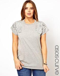 ASOS Curve T-Shirt WIth Jewel Shoulder