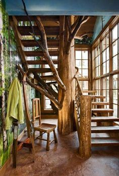Rustic treehouse / tree branches style stairs - fairytale fantasy dream house interior design - home decor / decorating