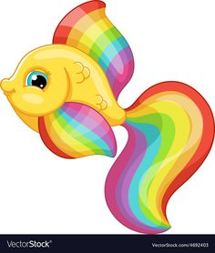 aquarium fish rainbow colors on a white background, EPS JPG (high resolution). Baby Animal Drawings, Art Drawings For Kids, Cartoon Drawings, Easy Drawings, Owl Vector, Fish Vector, Fish Clipart, Rainbow Fish, Rainbow Colors