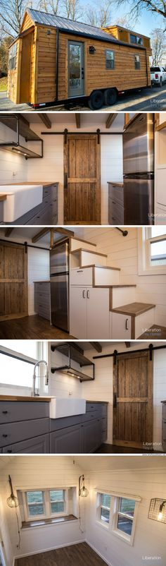 "A 24' x 8.5"" modern farmhouse by Liberation Tiny Homes"