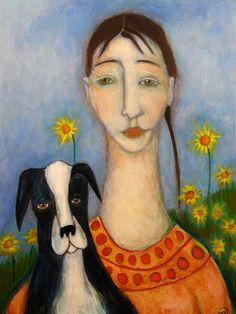 Expressionist folk art painting portrait  by CindyRiccardelli, $80.00