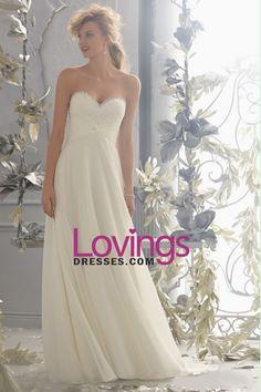 2014 Beaded Sweetheart Neckline Lace Bust Ruffled Wedding Dress A Line Chiffon US$ 159.99 LDP8KBGCTZ - lovingsdresses.com