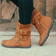 Load image into Gallery viewer, Cushioned Low-Calf Buckled Boots Low Heel Knitted Fabric Zipper Slip On Boots Flat Heel Boots, Slip On Boots, Shoe Boots, Wedge Boots, Casual Heels, Casual Boots, Low Heels, Stylish Winter Boots, Women's Casual
