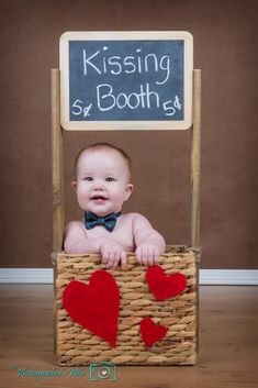 Valentine's Day Kissing Booth photo - miles is such a flirt this is perfect. Valentine Picture, Valentines Day Baby, Valentines Day Pictures, Holiday Pictures, Halloween Baby Pictures, Valentine Photos, Valentine Mini Session, Monthly Baby Photos, Baby Boy Photos