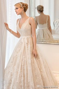 #Essense of Australia D1526 Champagne Embroidered Lace with Beading at Le Dress Boutique for $995, from $1500 retail #EssenseofAustralia