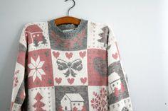 vintage 80s Slouchy Oversized Ugly Christmas Sweater Novelty L XL $22.00 by littleveggievintage on Etsy