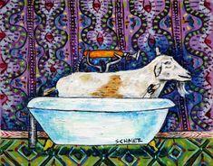 penguin art ceramic tile COASTER gift JSCHMETZ modern folk art BATHROOM