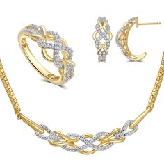 This is a 3 piece necklace, ring and earring gold over brass 1/2 cttw diamond set.
