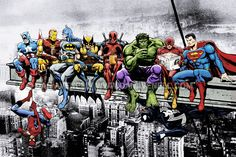 The World's Greatest Superheroes Start Their Day With A Healthy Breakfast! From Left (top) - Captain America, Iron man, Batman, Wolverine, Deadpool, Hulk, Flash, Superman, and underneath someone sneaking up on Spider-Man...        Mounted Canvas Wrap    • The art extends around the edges of the canvas    • Printed on 280gsm matt canvas on a 20mm pine box frame    • Made by hand in the UK    • All prints mailed within two working days of receiving order.    • Individually bubble wrapped and…