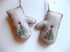 Mittens Christmas ornament in beige felt  by MakeCreateNYC on Etsy, $8.00