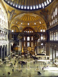 Inside Hagia Sophia, Contantinople (now Istanbul, Turkey).