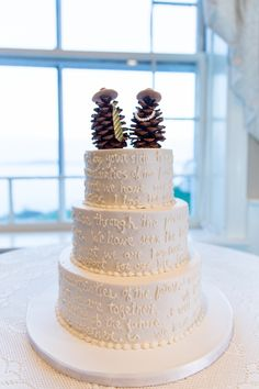 Handwriting on cake with pinecone cake toppers