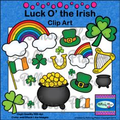 "St. Patrick's Day Clip Art - Luck O' the Irish ($) - ""Lucky Charms"" themed Summer Camp group"