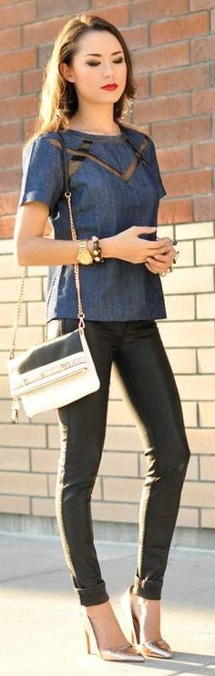 Chambray Mesh Insert Top by Hapa Time