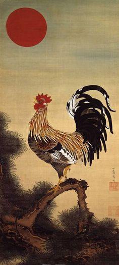 """Jakuchu Ito  """"Rising Sun rooster diagrams"""""""