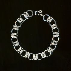 Bracelet Silver Chain Sterling Chainmaille Open Link Circles Wire Jewelry Metal Wirework Hammered Metalwork