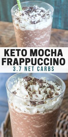KETO Mocha Frappuccino!! You won't believe how delicious this low carb Keto Mocha Frappuccino is! At just 3.7 net carbs this keto Starbucks knockoff will be a new favorite! #keto #lowcarb
