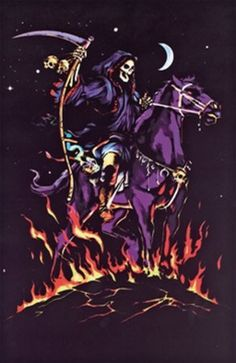 Grim Reaper Blacklight Poster by Scorpio Posters, inc. Posters glow brightly under UV Black lights. Uv Black Light, Black Light Posters, Angel Of Death, Dope Art, Grim Reaper, Skull Art, Light Art, Illustration, Anime