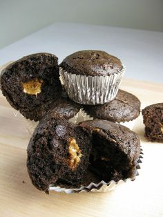 cookie butter stuffed chocolate muffins who's ready? super easy to make