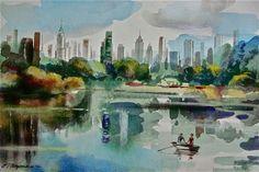 "Erik Freyman  ""City Park with Lake "" original watercolor painting #Impressionism"