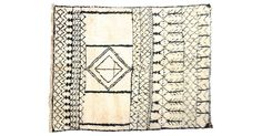 Vintage Moroccan Beni Ourain rug handwoven with plush ivory and black wool. Features abstract Berber tribal pattern. Some wear.