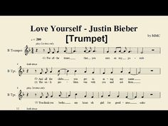 Love Yourself - Justin Bieber (Trumpet) [Sheet Music by MMC] - YouTube
