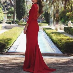Sexy Red Long Sleeves Evening Dress Fishtail Maxi Dress – lovejewelryacc pretty dress dress and skirt outfits maxi maxi outfits Fishtail Maxi Dress, Sexy Maxi Dress, Floral Maxi Dress, Sexy Dresses, Summer Dresses, Summer Maxi, Evening Dresses With Sleeves, Evening Dresses For Weddings, Maxi Dress With Sleeves