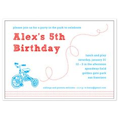 birthday party invitations - Bicycles in the Park by Alison Michael
