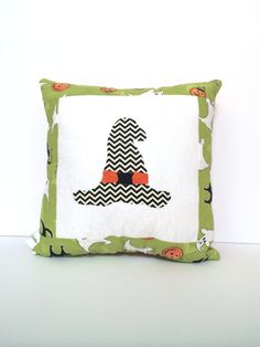 Quilted Halloween Pillow witches hat pillow by TheQuiltedPillow, $20.00