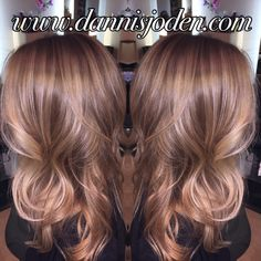 Balayage highlights & lowlights to create a soft bronde ombre effect. Hair by Danni in Denver, Co.