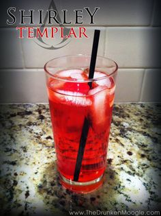 Shirley Templar (Assassin's Creed cocktail)  Ingredients: Ginger Ale Sprite 1.5 oz. gin 1.5 oz. grenadine 1 maraschino cherry  Directions: In a highball glass with ice, fill most of the glass half with Sprite, half with ginger ale, leaving a bit of room at the top.  Mix in a shot of grenadine and a shot of gin.  Place a maraschino cherry on the top and serve.
