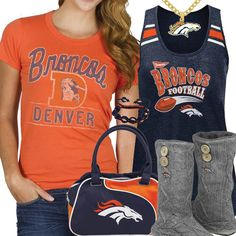 Cute Denver Broncos Fan Gear minus the purse and the necklace i like this combo