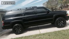 This 2006 Chevrolet Suburban is running Hostile Alpha wheels Atturo Trail Blade Mt tires with Rough Country Leveling Kit suspension. Chevrolet Suburban, Chevrolet Silverado, Yukon Truck, S10 Blazer, Tyre Fitting, Wheels And Tires, My Ride, 4x4, Trucks