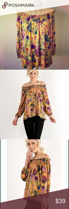 Floral Blouse This blouse is pretty with its golden floral print and off shoulder design.  A very high quality piece.  Fabric has a slinky soft feel.  Poly spandex blend.  Loose flowy fit.  🌻sorry no trades🌻pricing firm unless bundled Tops Blouses