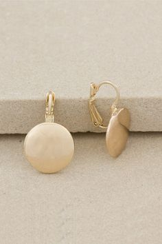 Gold Polished Disk Earring