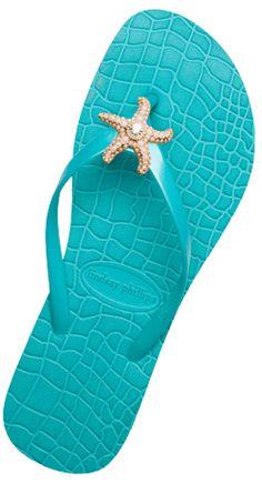 turquoise starfish flip flops via Linda @ Seaside Style Pantone Turquoise, Turquoise Shoes, Shades Of Turquoise, Turquoise Color, Aqua Blue, Azul Tiffany, Tiffany Blue, Flipflops, Color Azul