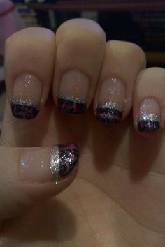 Pink with Black Crackle Nails