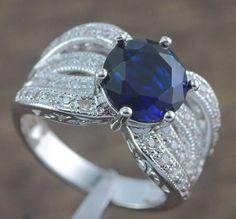 Sapphire & Zircon Women Jewelry Gems Silver Ring Size 6 / 7.5 / 8.5 / 9 NJ6186