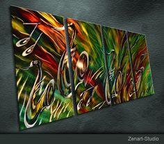 Original Bright Metal Wall Art Modern 3D Painting by zenartstudio