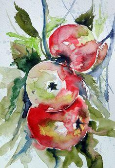 Buy Apples, Watercolours by Kovács Anna Brigitta on Artfinder. Discover…