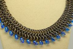 "Hand-Made Antique Brass Chain Maille & ""Sappire AB"" colour Glass beads Necklace"