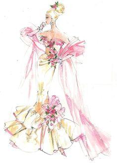 Barbie fashion illustration ~ pink and white cloud Pop Design, Design Lab, Sketch Design, Arte Fashion, Fashion Dolls, Fashion Design, Barbie Fashion Sketches, Vintage Fashion Sketches, Pink Fashion