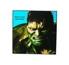 Hulk Pop Art Wall Decor Marvel Wall Art Wood Frame by PeoplePopArt, $19.00