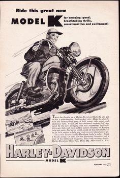 Vintage ad 1953 HARLEY DAVIDSON Model K motorcycle biker - Free U.S ...